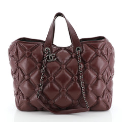 Chanel Chesterfield Shopping Tote Quilted Leather Large
