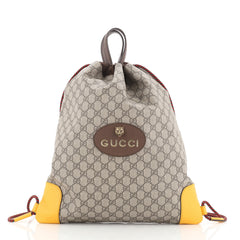 Gucci Animalier Drawstring Backpack GG Coated Canvas Large