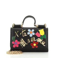 Dolce & Gabbana Sicily Wallet on Chain Embellished Leather Mini