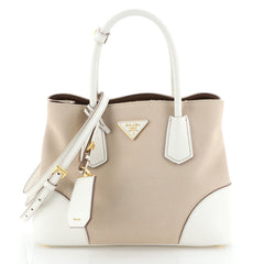 Prada Cuir Double Tote Canvas and Saffiano Leather Small