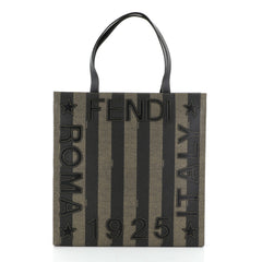 Fendi Pequin Logo Tote Embroidered Coated Canvas Medium
