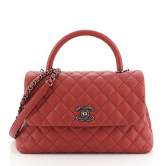 Chanel Coco Top Handle Bag Quilted Caviar Medium