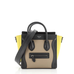 Celine Tricolor Luggage Handbag Leather Nano