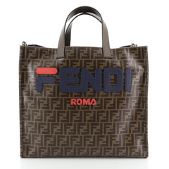 Mania Logo Shopper Tote Zucca Coated Canvas Large