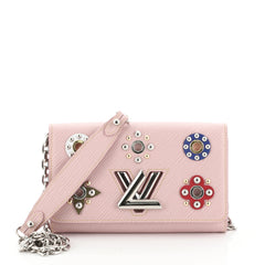 Louis Vuitton Twist Chain Wallet Limited Edition Mechanical Flowers Epi Leather Pink 473105