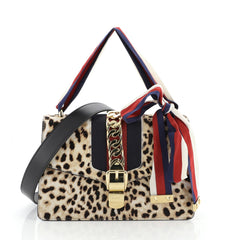 Gucci Sylvie Shoulder Bag Printed Calf Hair Small