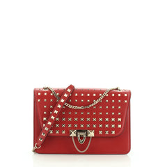 Valentino Rockstud Demilune Shoulder Bag Studded Leather Small