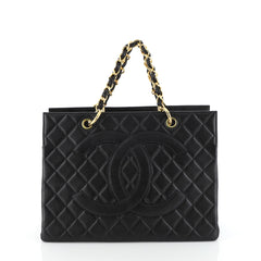 Chanel Vintage Grand Shopping Tote Quilted Caviar