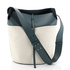 Burberry Supple Bucket Bag Canvas with Leather Medium