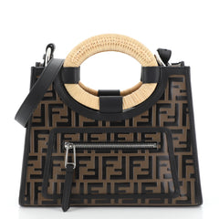 Fendi Runaway Tote Logo Embossed Leather Small