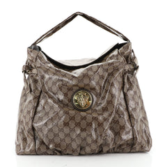 Gucci Hysteria Fold Over Hobo GG Coated Canvas Medium