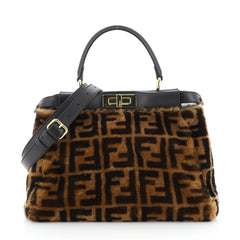 Fendi Peekaboo Bag Zucca Shearling Regular