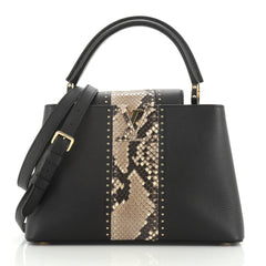 Louis Vuitton Capucines Handbag Studded Leather with Python PM