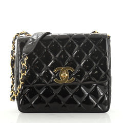 Chanel Vintage Square CC Flap Bag Quilted Patent Medium