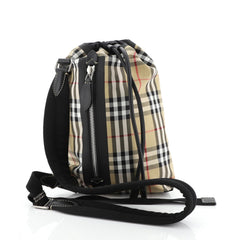 Burberry Sailing Duffle Sling Bag Vintage Check Canvas Small