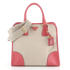 Prada Open Tote Canvas with Leather Large