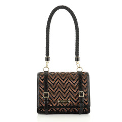 Burberry Christie Shoulder Bag Woven Patent and Raffia