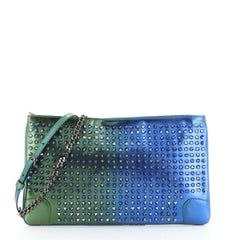 Christian Louboutin Loubiposh Clutch Holographic Spiked Leather