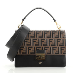 Fendi Kan U Shoulder Bag Zucca Embossed Leather Medium