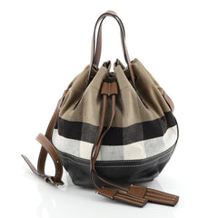 Burberry Heston Bucket Bag House Check Canvas with Leather Small