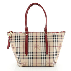 Burberry Salisbury Tote Haymarket Coated Canvas Small