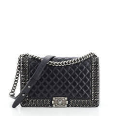 Chanel Chained Boy Flap Bag Quilted Glazed Calfskin New Medium