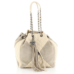 Chanel Patchwork Drawstring Bag Quilted Leather and Suede Small