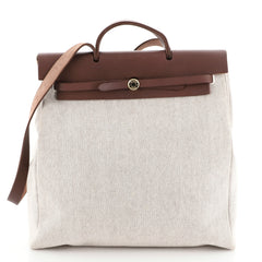 Hermes Herbag Toile and Leather MM