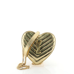 Saint Laurent Love Heart Chain Bag Matelasse Chevron Leather Small
