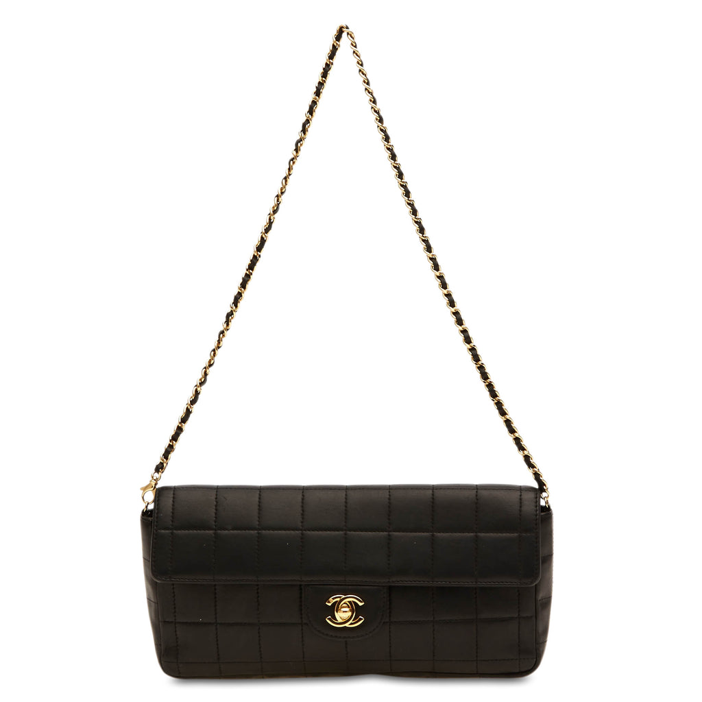 1096af2f1f5 Buy Chanel East West Chocolate Bar Flap Bag Lambskin Black 48402 – Rebag