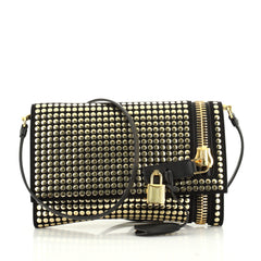 Tom Ford Alix Fold Over Crossbody Bag Studded Leather Small