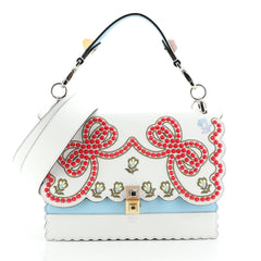 Fendi Kan I Bag Embroidered Studded Leather Medium