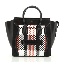Celine Luggage Bag Woven Leather Mini