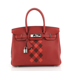 Hermes Birkin Handbag Tressage Red Swift and Palladium Hardware 30