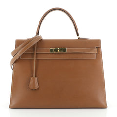 Hermes Kelly Handbag Brown Courchevel with Gold Hardware 35