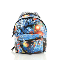 Moschino Pocket Backpack Printed PVC Medium