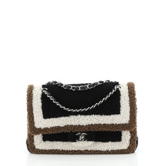 Chanel Classic Double Flap Bag Shearling Medium