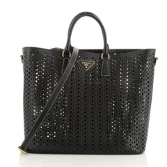 Convertible Open Tote Perforated Saffiano Leather Large
