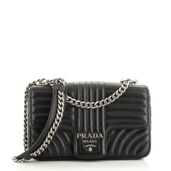 Prada Chain Flap Shoulder Bag Diagramme Quilted Leather Medium