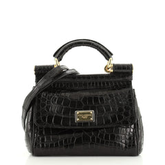 Dolce & Gabbana Miss Sicily Bag Crocodile Embossed Leather Mini