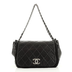 Chanel CC Chain Accordion Flap Bag Quilted Lambskin with Fur Small