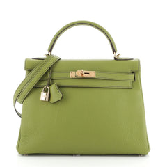 Kelly Handbag Green Togo with Gold Hardware 32