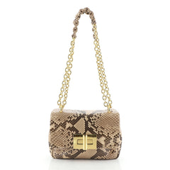 Soft Natalia Chain Shoulder Bag Python Medium