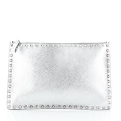 Rockstud Pouch Leather Large