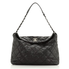Chanel Stitch It Fold Over Shoulder Bag Quilted Lambskin Large