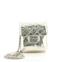 Wallet on Chain Flap Bag Quilted Metallic Calfskin Mini
