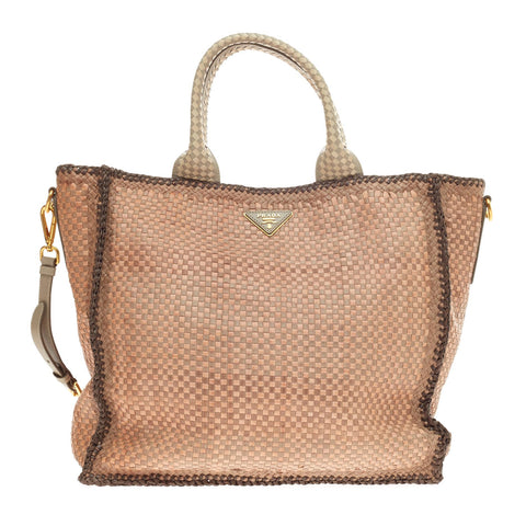 8c9903ce868f Buy Prada Madras Tote Woven Leather Large Pink 54504 – Rebag