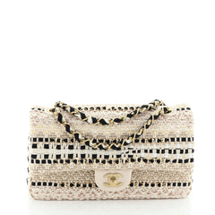 Classic Single Flap Bag Woven Cotton and Raffia Medium