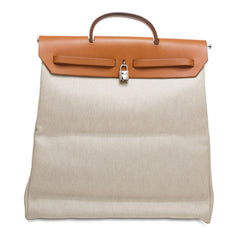 Hermes Herbag Leather and Canvas MM