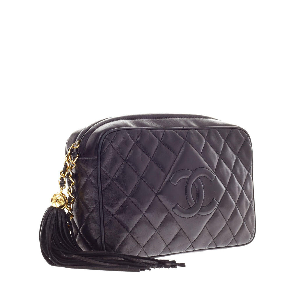 f399e371e962 Buy Chanel Diamond Camera Bag Quilted Leather Crossbody Black 63303 ...